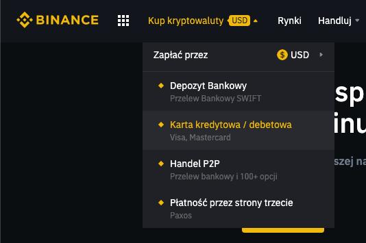 Binance - karta kredytowa
