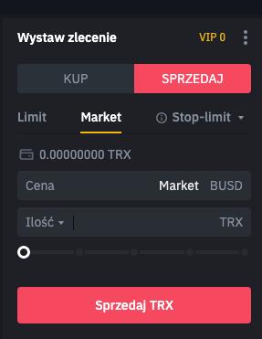 Binance - sprzedaj