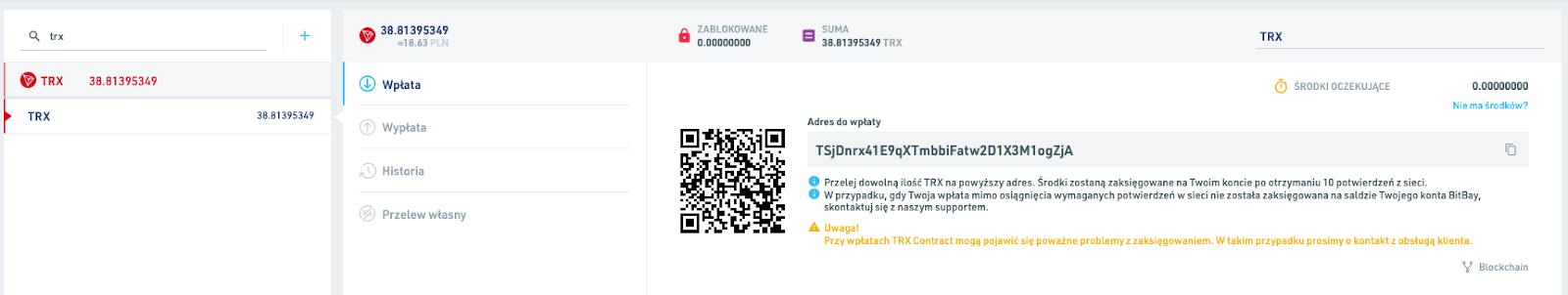 BitBay - wpłata TRX