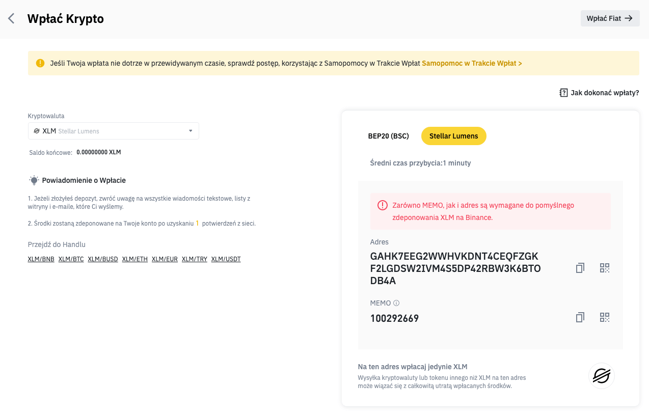 Binance - Crypto Address